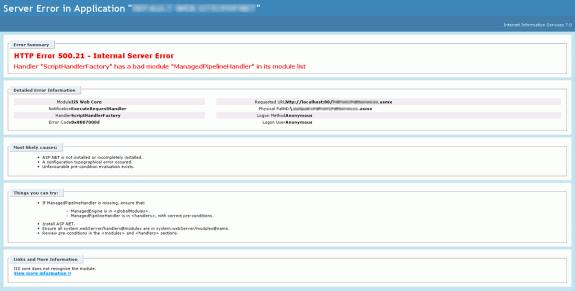 IIS7: HTTP Error 500.21