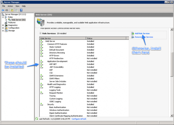 IIS7 and ASP.NET: Make sure these features are installed