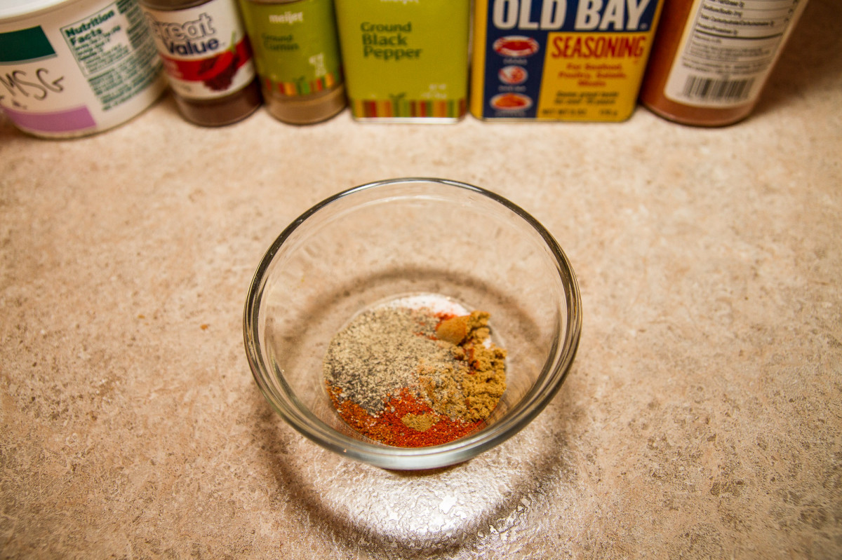 The Seasonings! A 1/2 tsp each of: chili powder, ground cumin, black pepper, Old Bay seasoning, cayenne pepper, and MSG (or other salt).