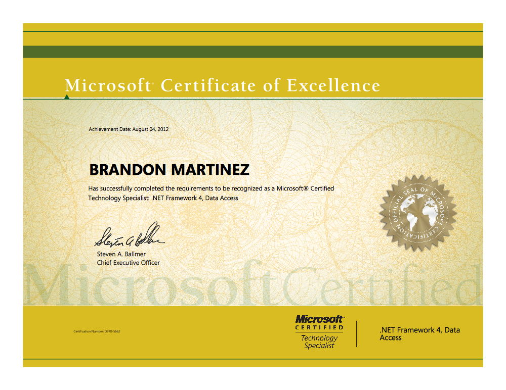 Microsoft Certified Technology Specialist Brandon Martinez