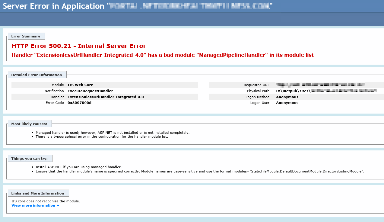 Resolve an HTTP Error 500 21 in IIS | brandon martinez