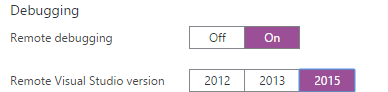 Remote Debugging Enabled with VS2015