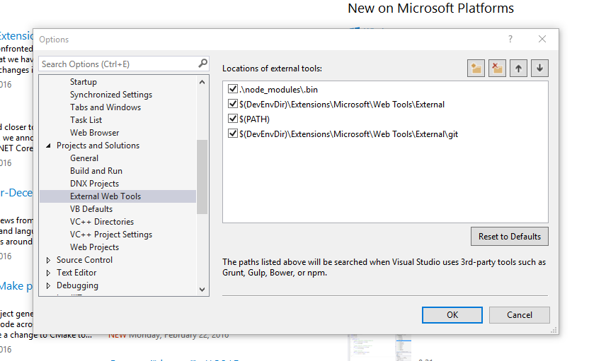 Visual Studio External Web Tool Paths: Default