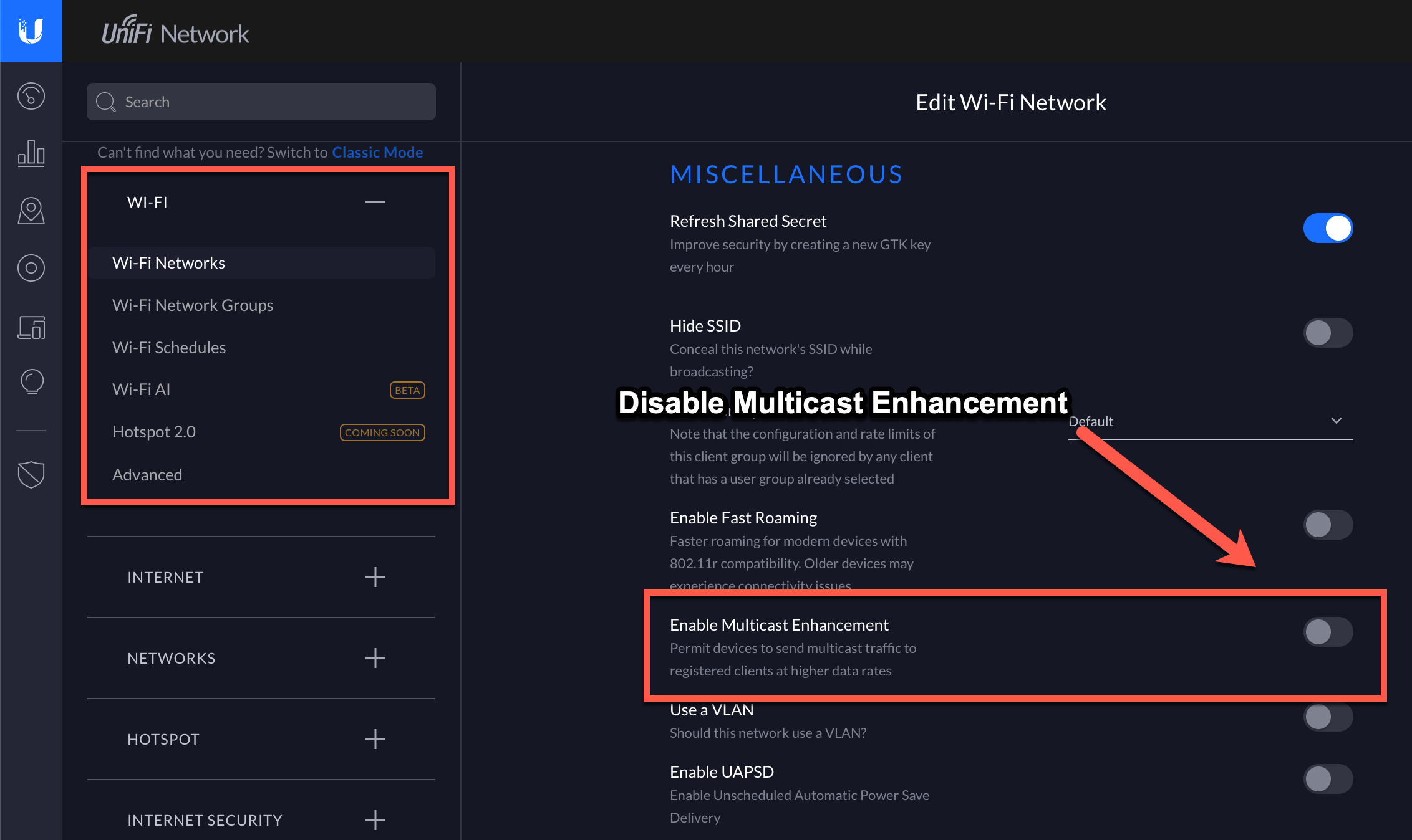 Disable Multicast Enhancement